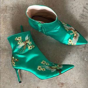 ZARA Green Satin Boots Shoes Booties 7.5